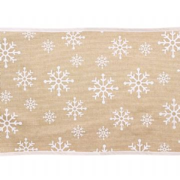 Christmas Snowflake Hessian Table Runner